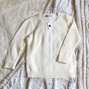 NWT Gap Cream Button Shoulder Sweater
